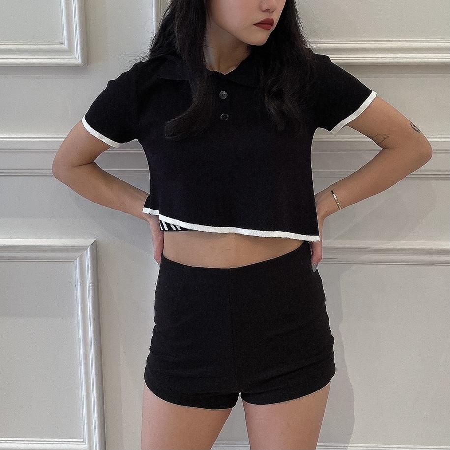 【Belle】back open tops / black