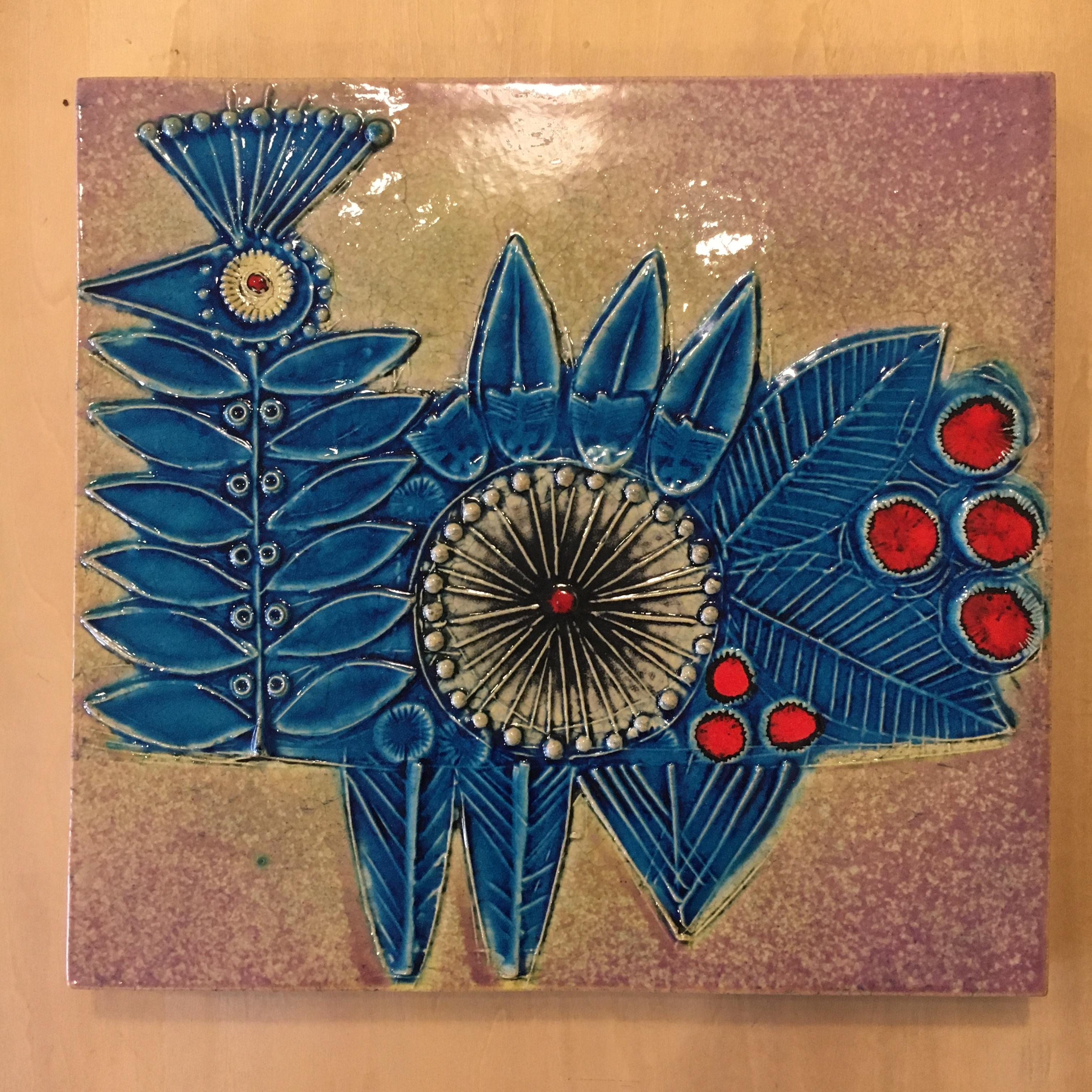 "Gustavsberg/グスタフスベリ Lisa Larson リサ・ラーソン ""Vaggplattor(青い鳥)"" 陶板 壁掛け スウェーデン"