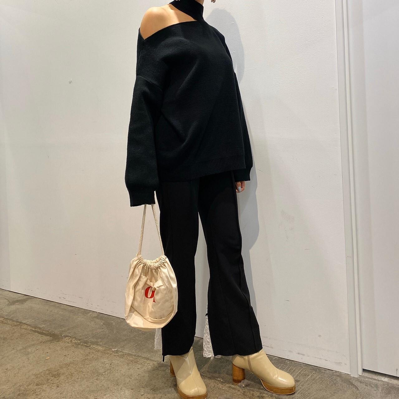 one shoulder knit (beige/black/gray)