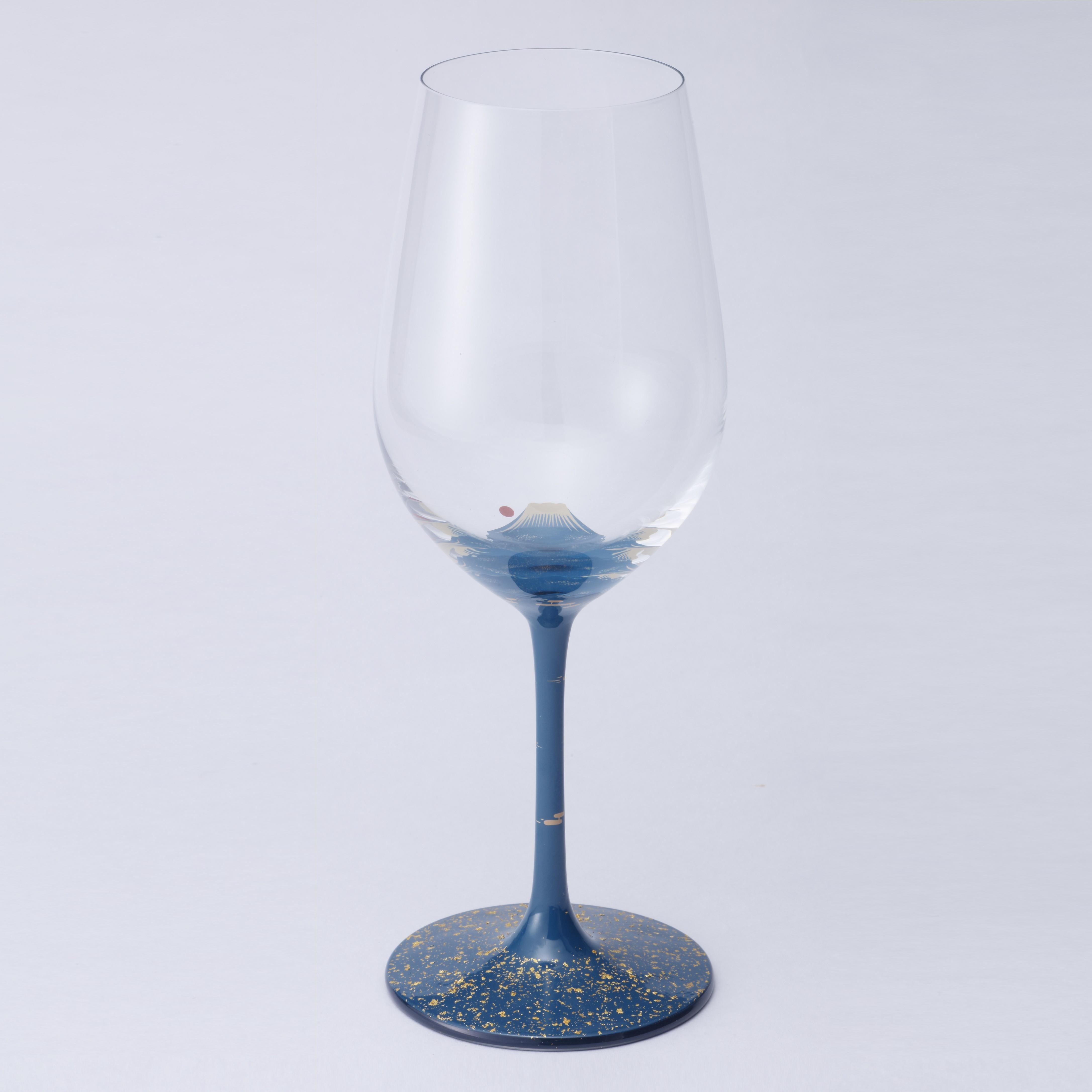 丸三漆器 漆絵ワイングラス 富士