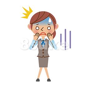 イラスト素材:ショックを受けるOL・事務職の女性(ベクター・JPG)