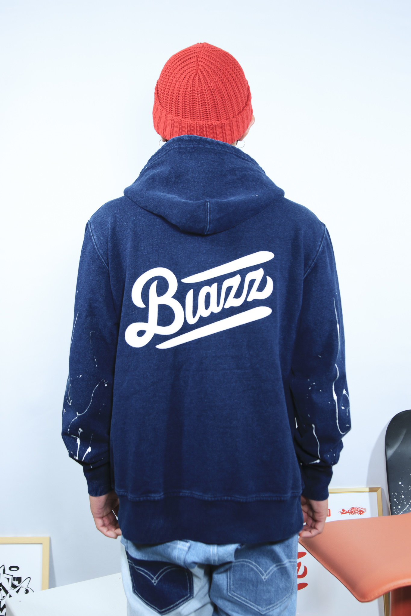 KB PAINT ZIP UP DENIM HOODIE