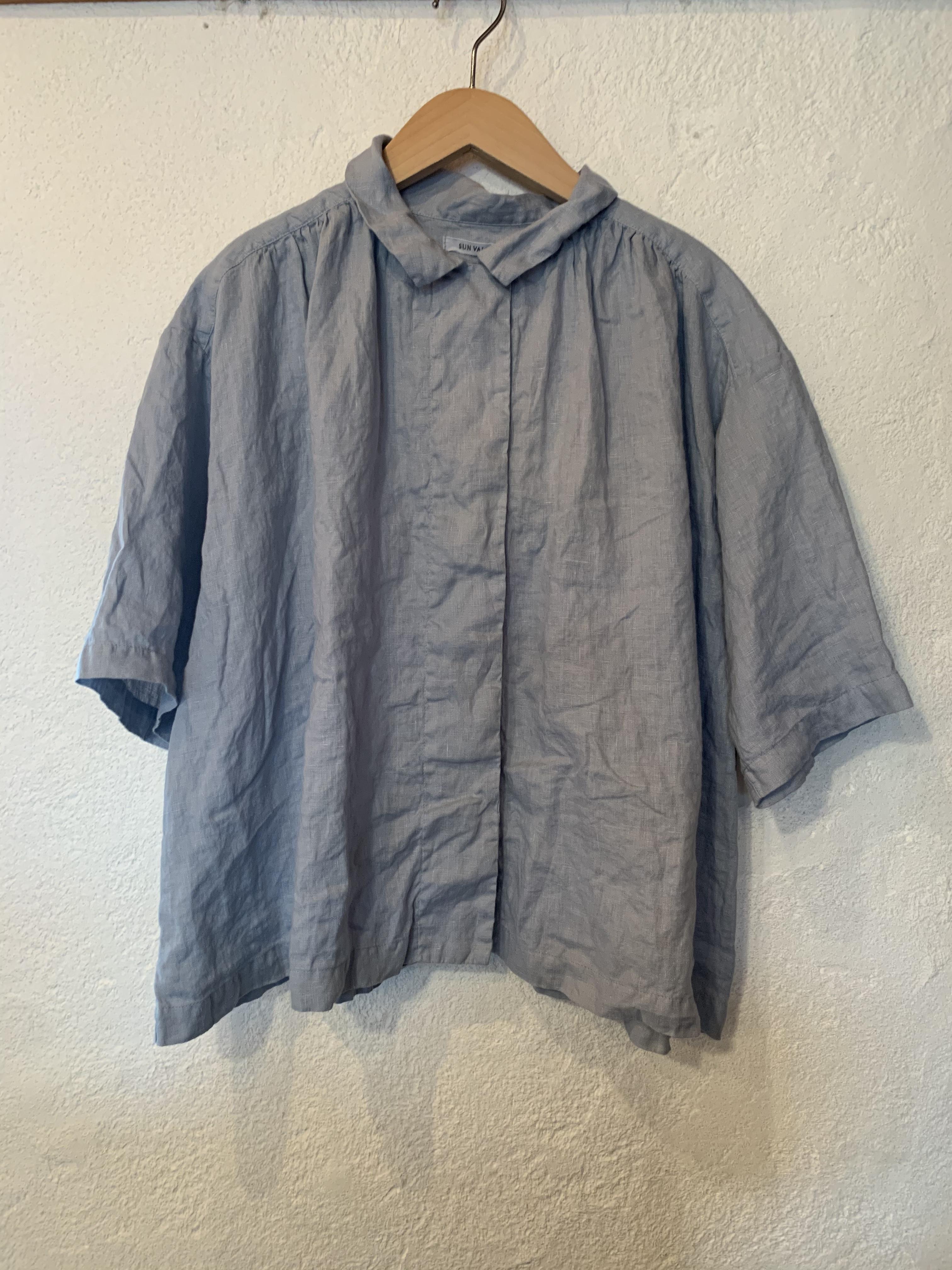 SUN VALLEY/製品染め フレンチリネン ギャザー シャツ