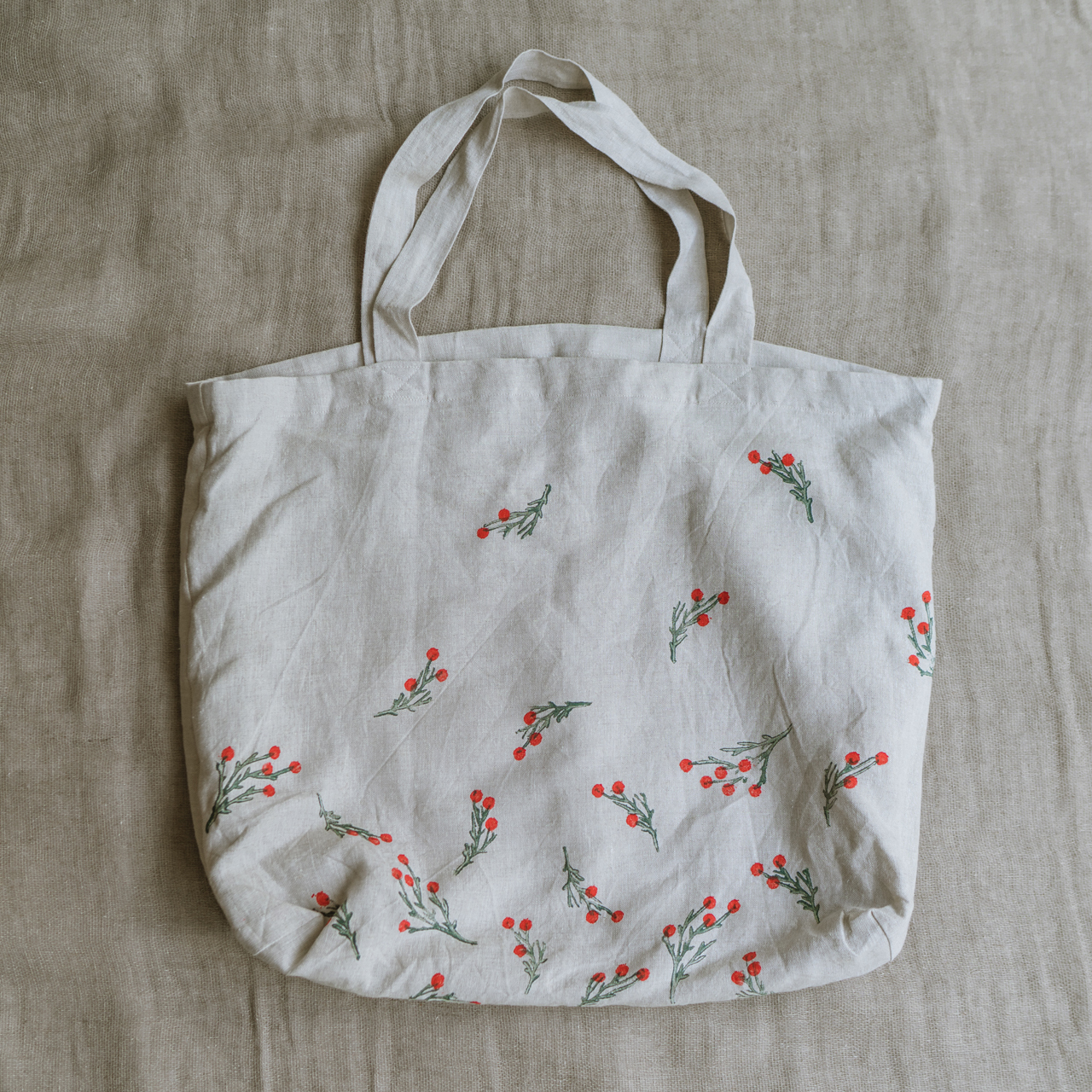 Large linen tote bag butcher's broom ラージリネントートバッグ ブッチャーズブルーム