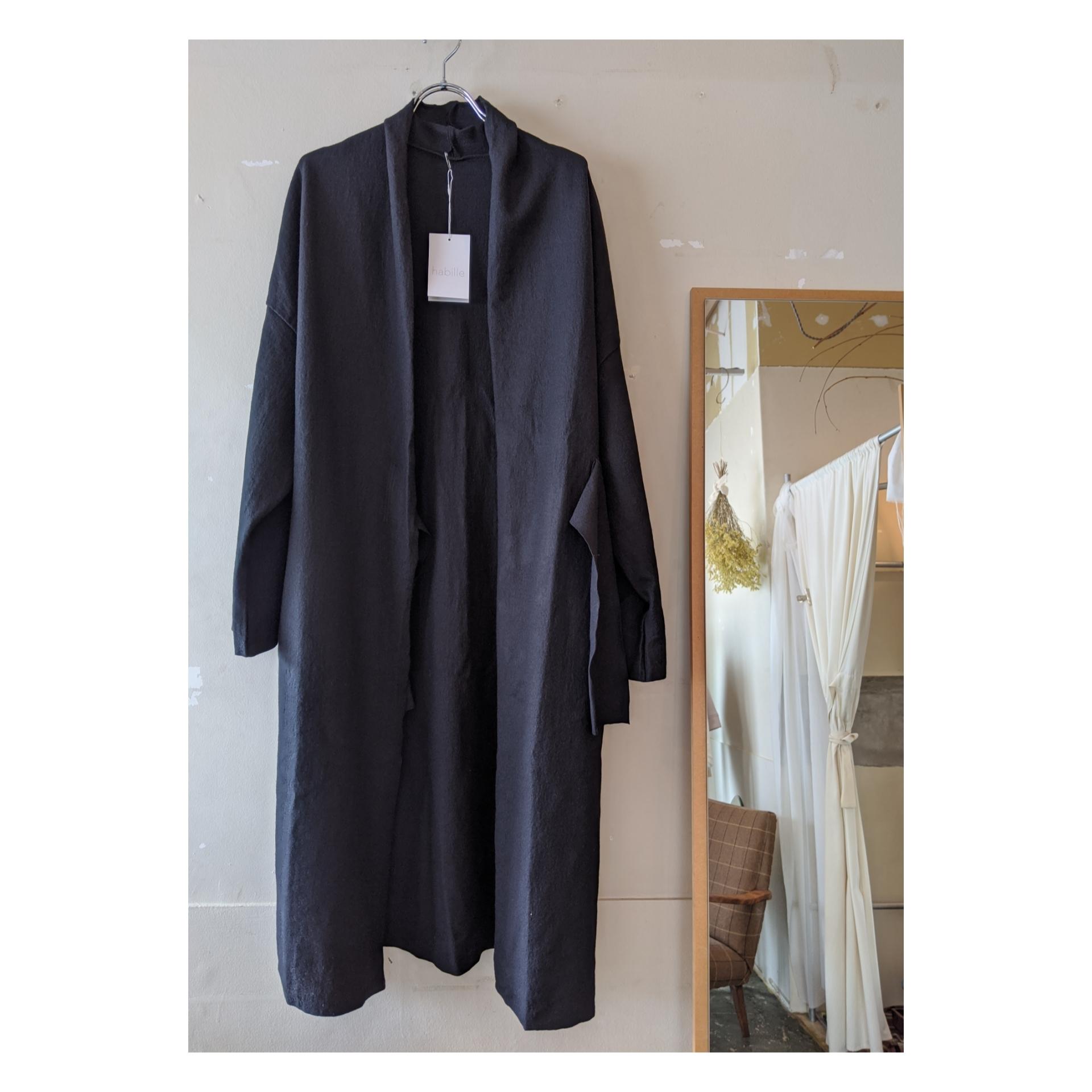 【 habille 】 gown coat / compressed wool / 圧縮ウール / ウールコート / BLACK