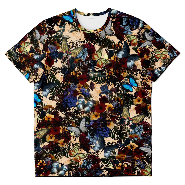華と蝶 White ユニセックスTシャツ
