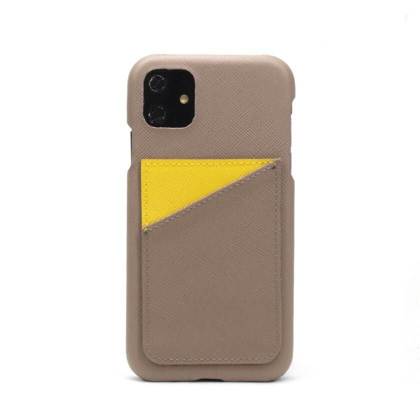 背面カード【グレージュ×イエロー】 iPhone / Galaxy / Xperia /  Googlepixel / Huawei