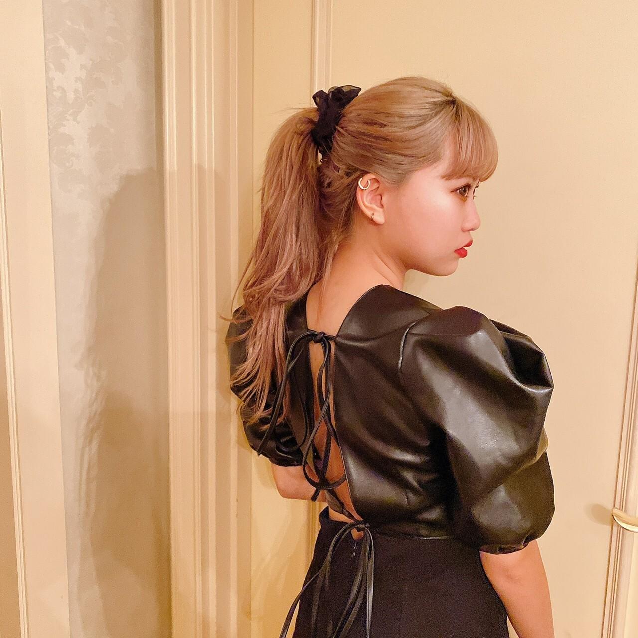 【Belle jour】back ribbon leather blouse