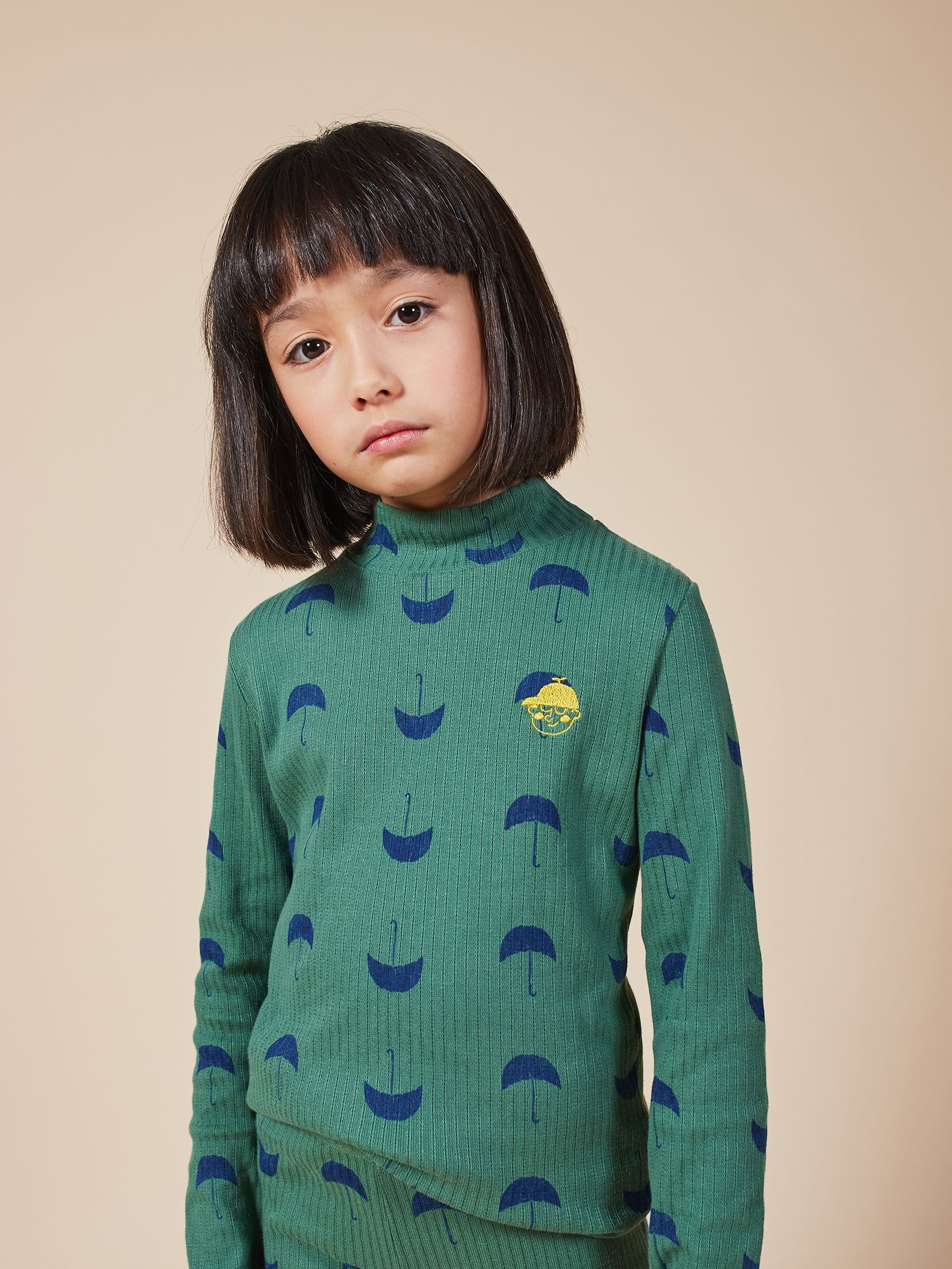 BOBO CHOSES ボボショセス Umbrella All Over Turtle Neck T-shirt size:2-3Y(100)~6-7Y(120)