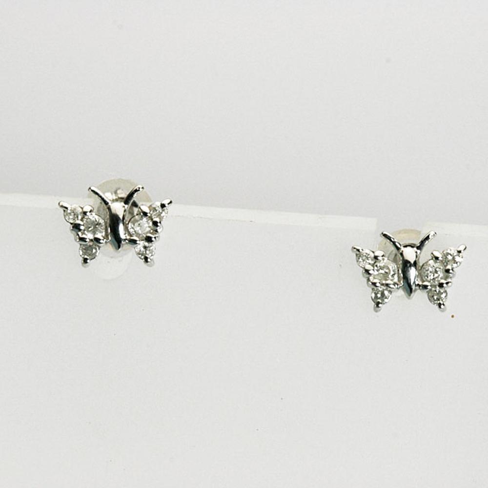 チョウチョのダイヤモンドピアス K18ホワイトゴールド