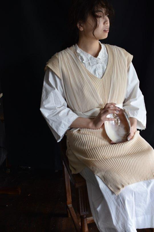 YUKISHIMANE rib layerd knit dress