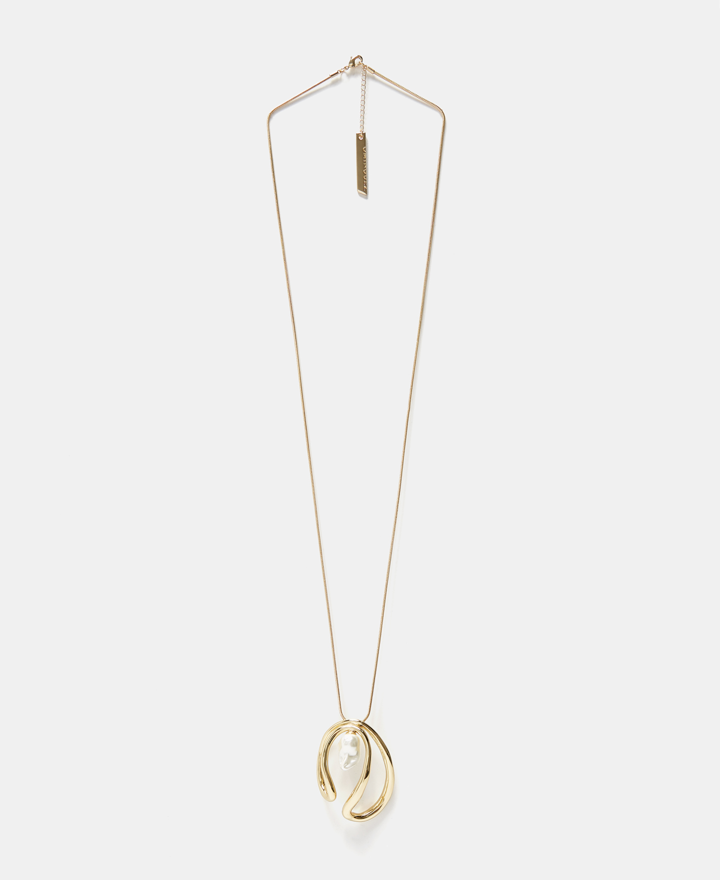 CIRCULAR SHAPE NECKLACE WITH RESIN PEARL [226583029111]