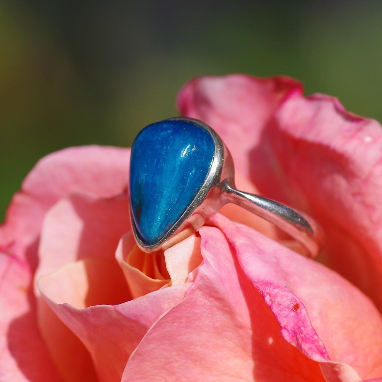 【SV925】*青い宝石* カバンサイト リング