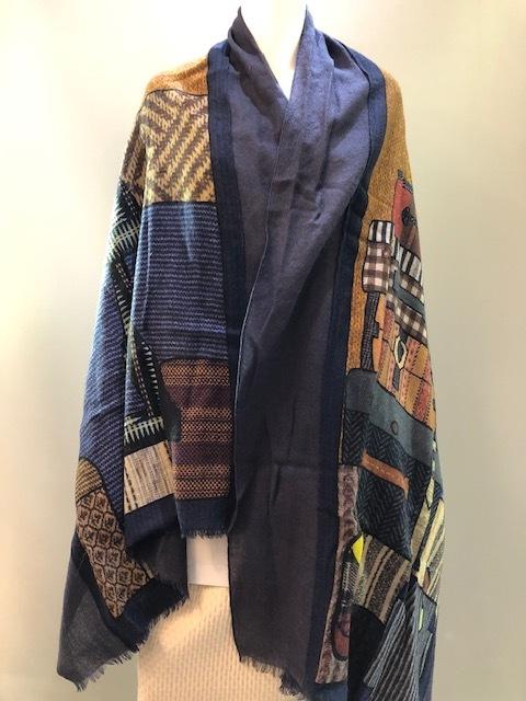 LARIOSETA イタリア製 ウール無地+プリント縫い付けショール DPK31/10614