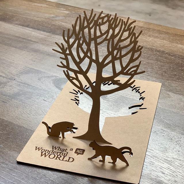 立体カード-2匹のねこと大きな木