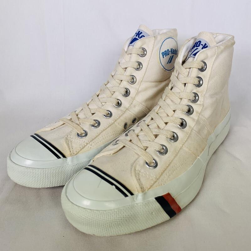 80's 90's PRO-Keds プロケッズ ROYAL NO,1 ロイヤルナンバーワン キャンバス コロンビア製 アイボリー ラストコロンビア 26cm位 希少 ヴィンテージ BA-1480 RM1899H