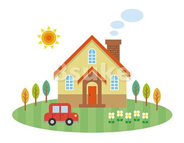 イラスト素材:庭付き一戸建てのイメージ(ベクター・JPG)