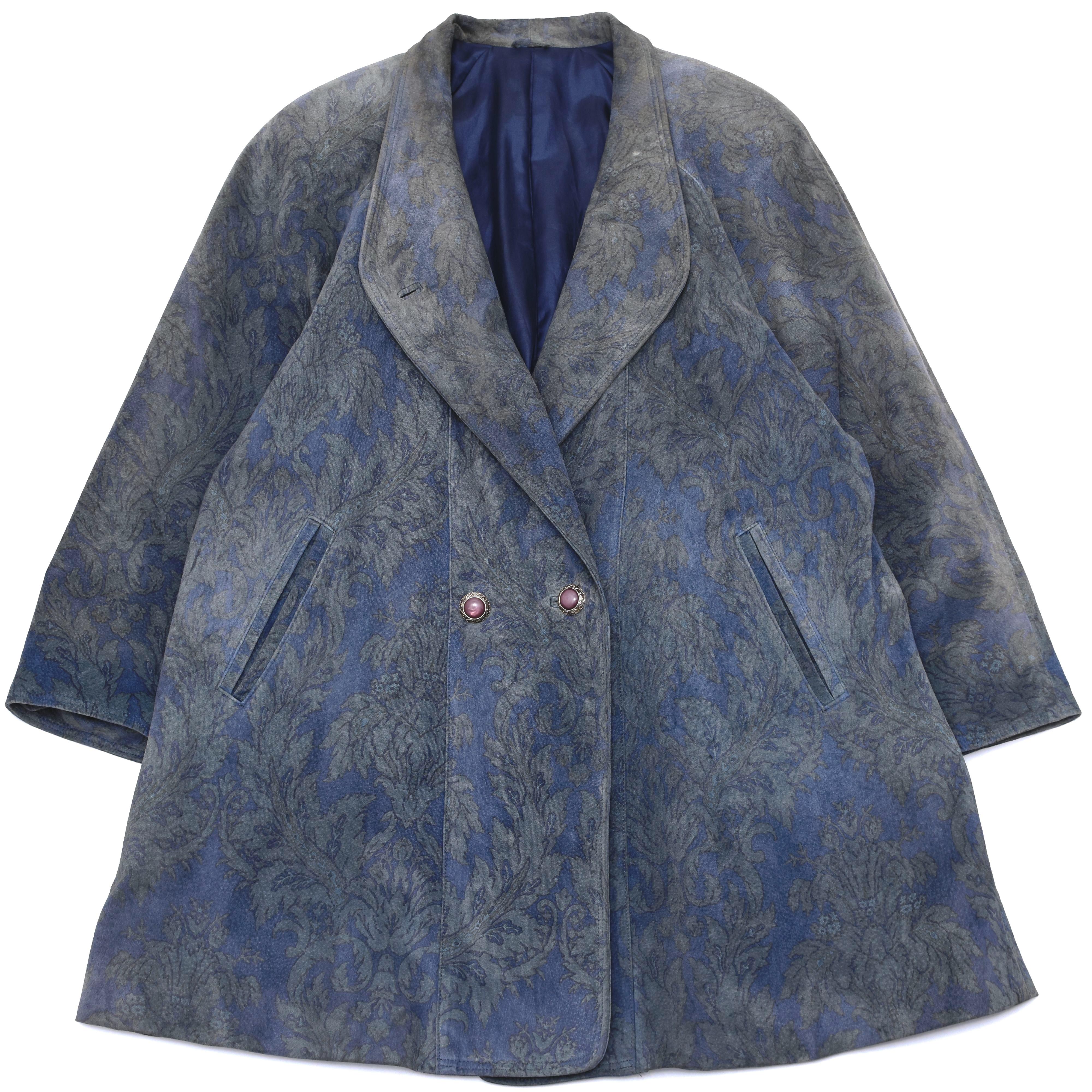 Unisex Vintage print suede leather coat