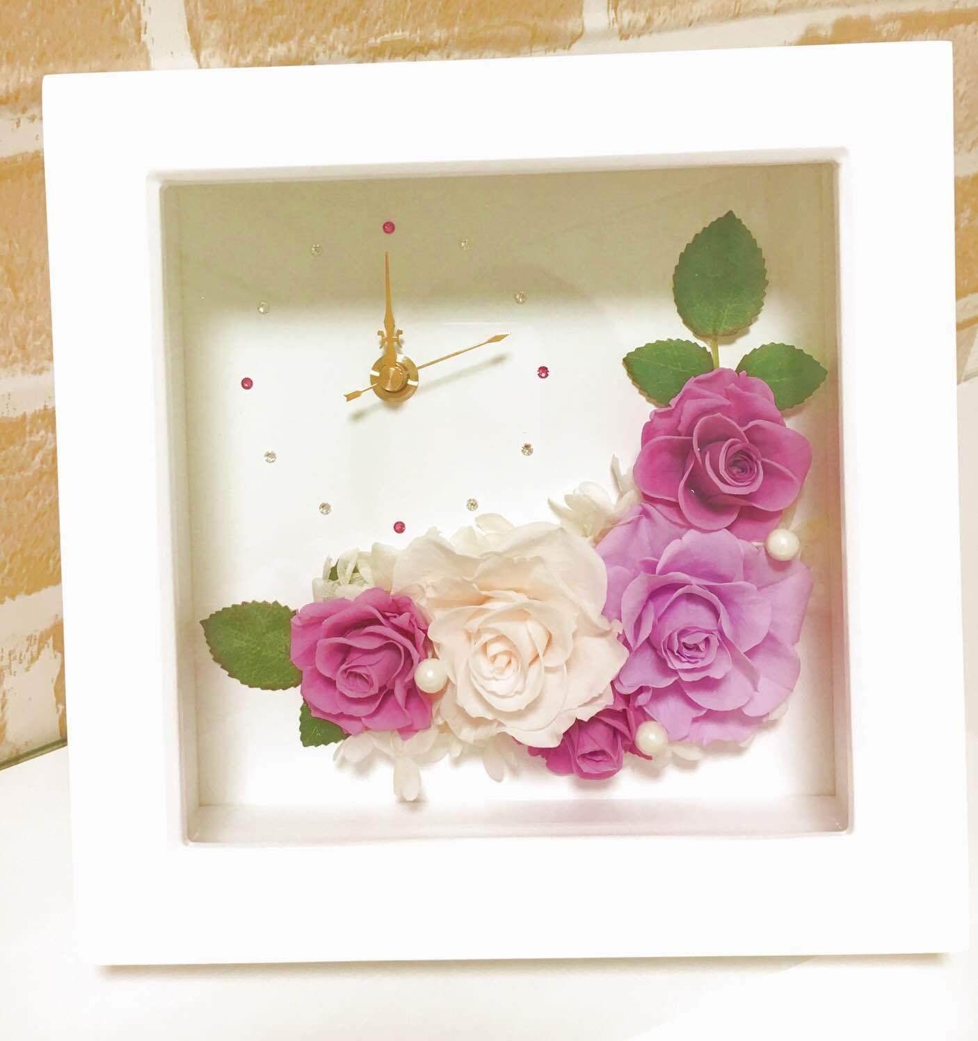 【贈り物に♪】プリザーブドフラワー時計 フラワークロック Purple
