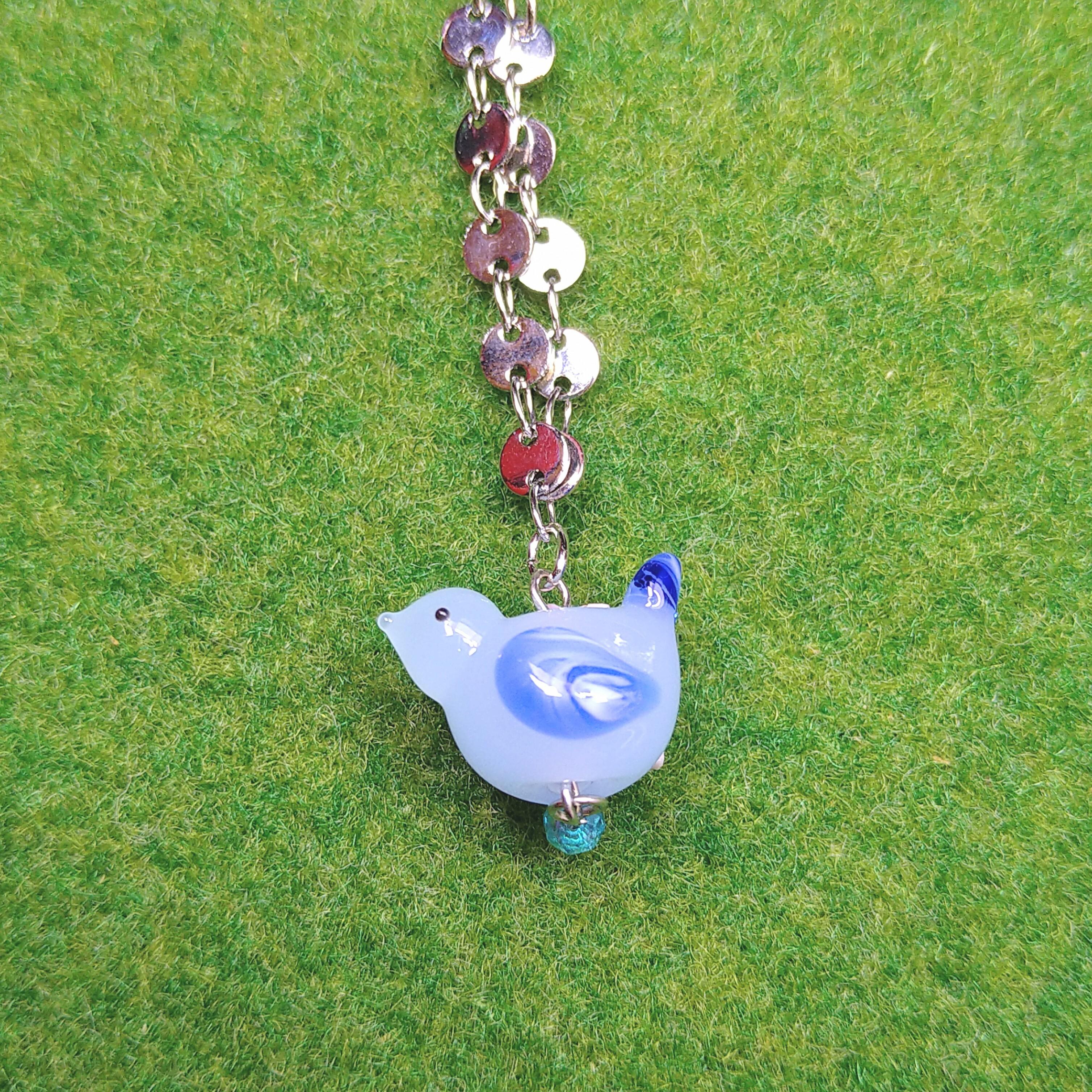 【mami】羽がマーブルなブルーの小鳥のネックレス