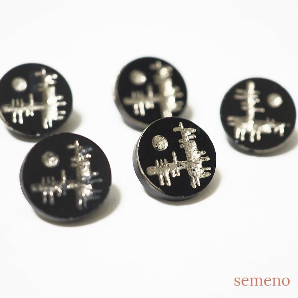 黒 シルバー ヴィンテージボタン チェコガラスボタン PCZB067
