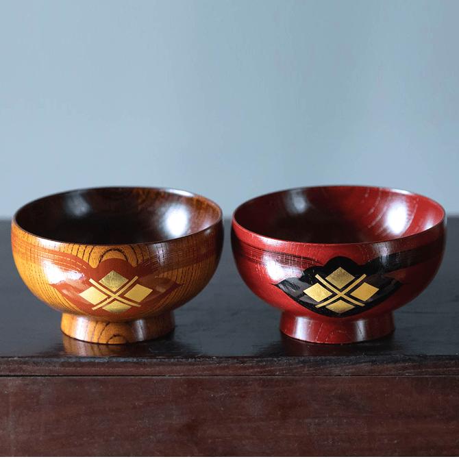 翁知屋 汁椀(ふき漆)2個セット
