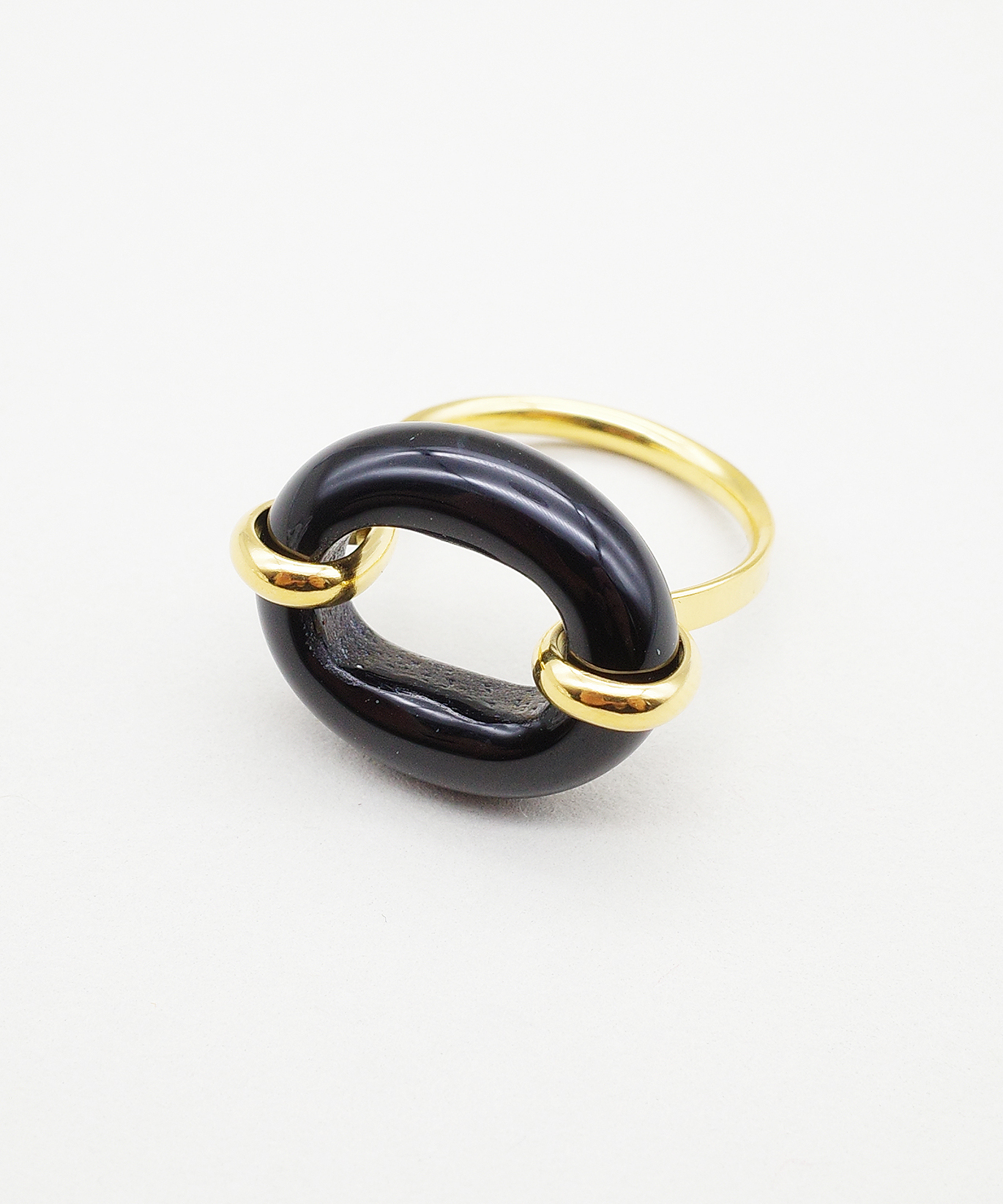 【CLED / クレッド】IN THE LOOP Ring / リング / 14K Gold Filled×Black Basalt