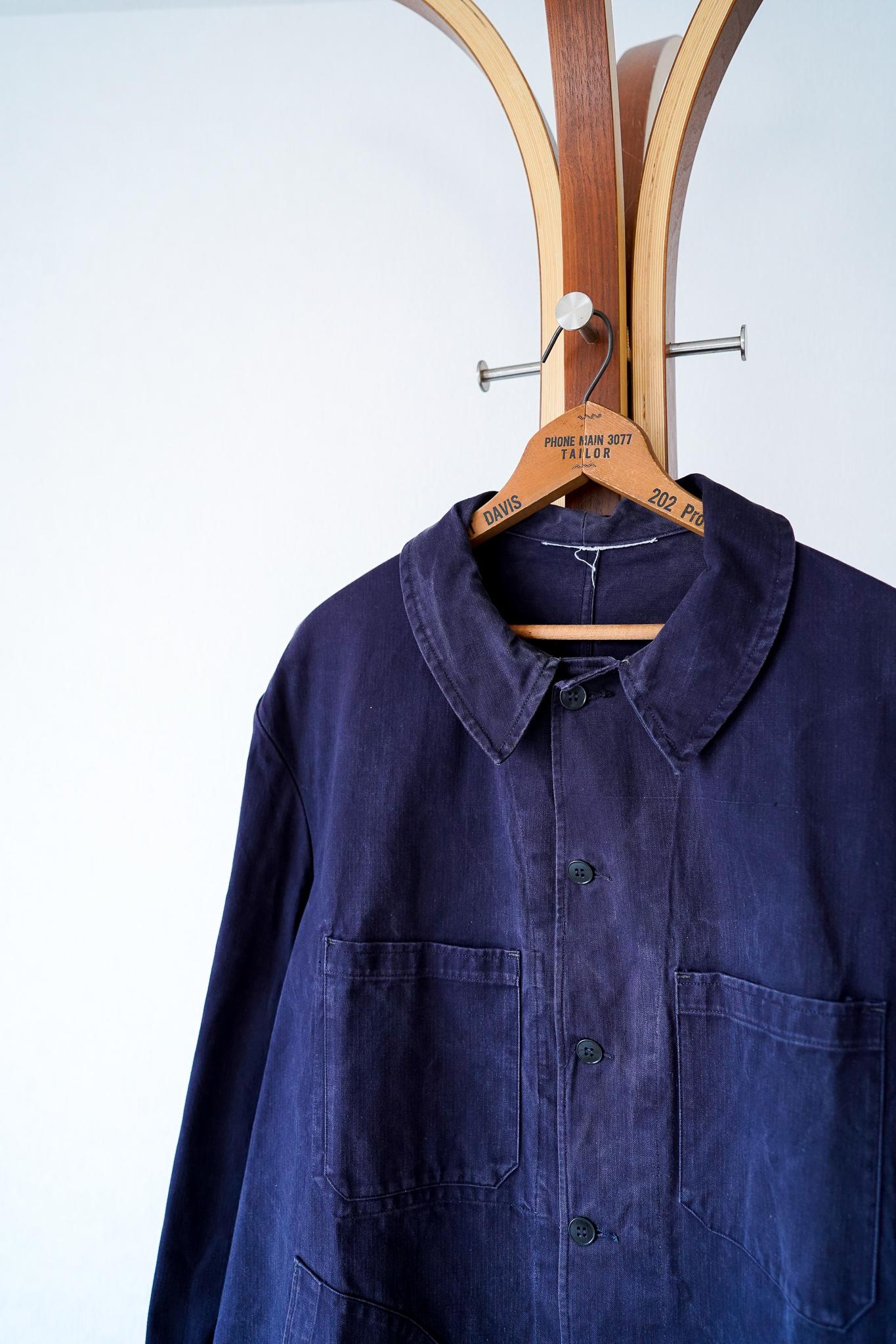 "【1950s】""Z.V.T.I."" Black Cotton HBT French Work Coat / v655"