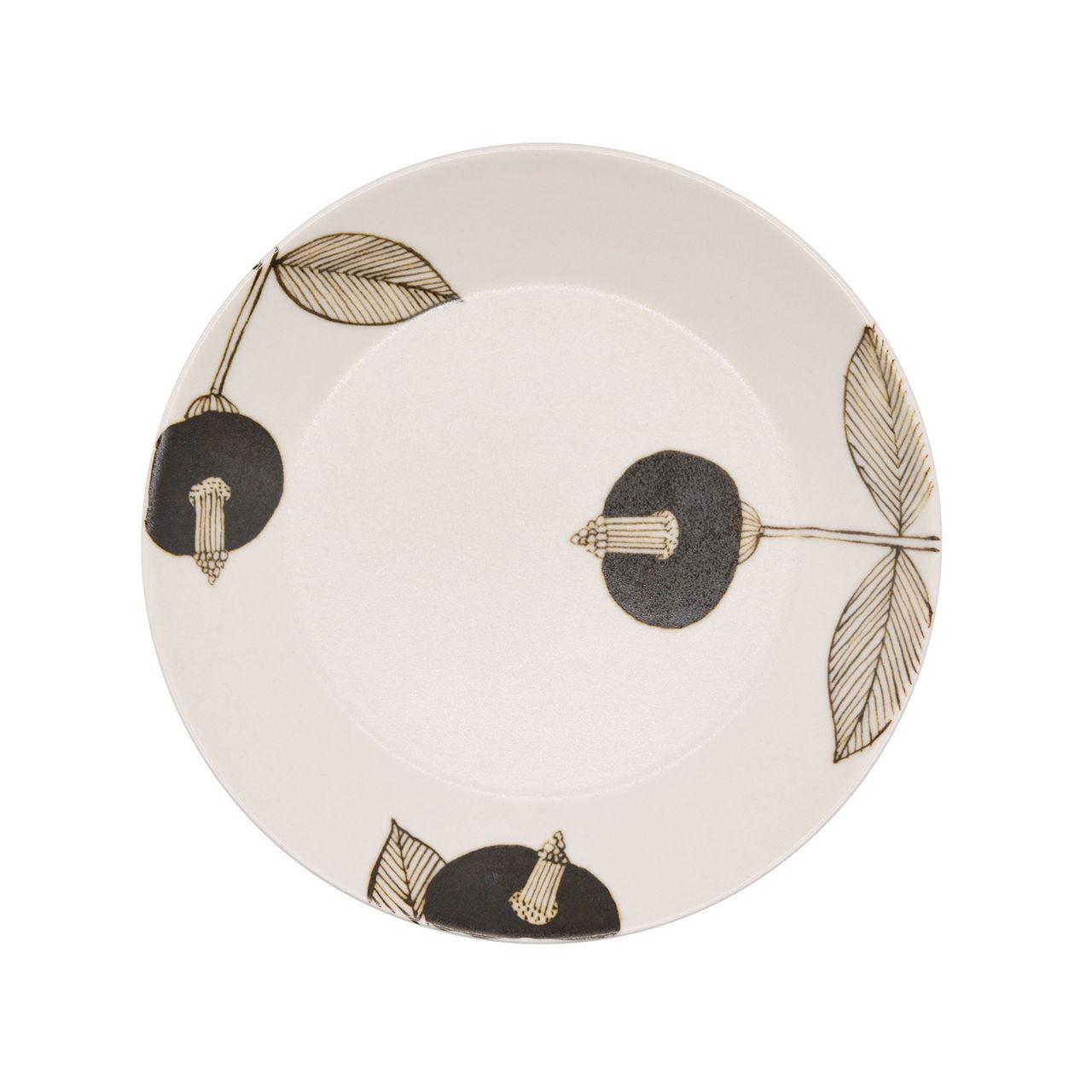 砥部焼 すこし屋 プレート 皿 約17cm ブラウンフラワー 229023