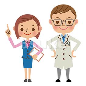イラスト素材:医者と医療事務(ベクター・JPG)
