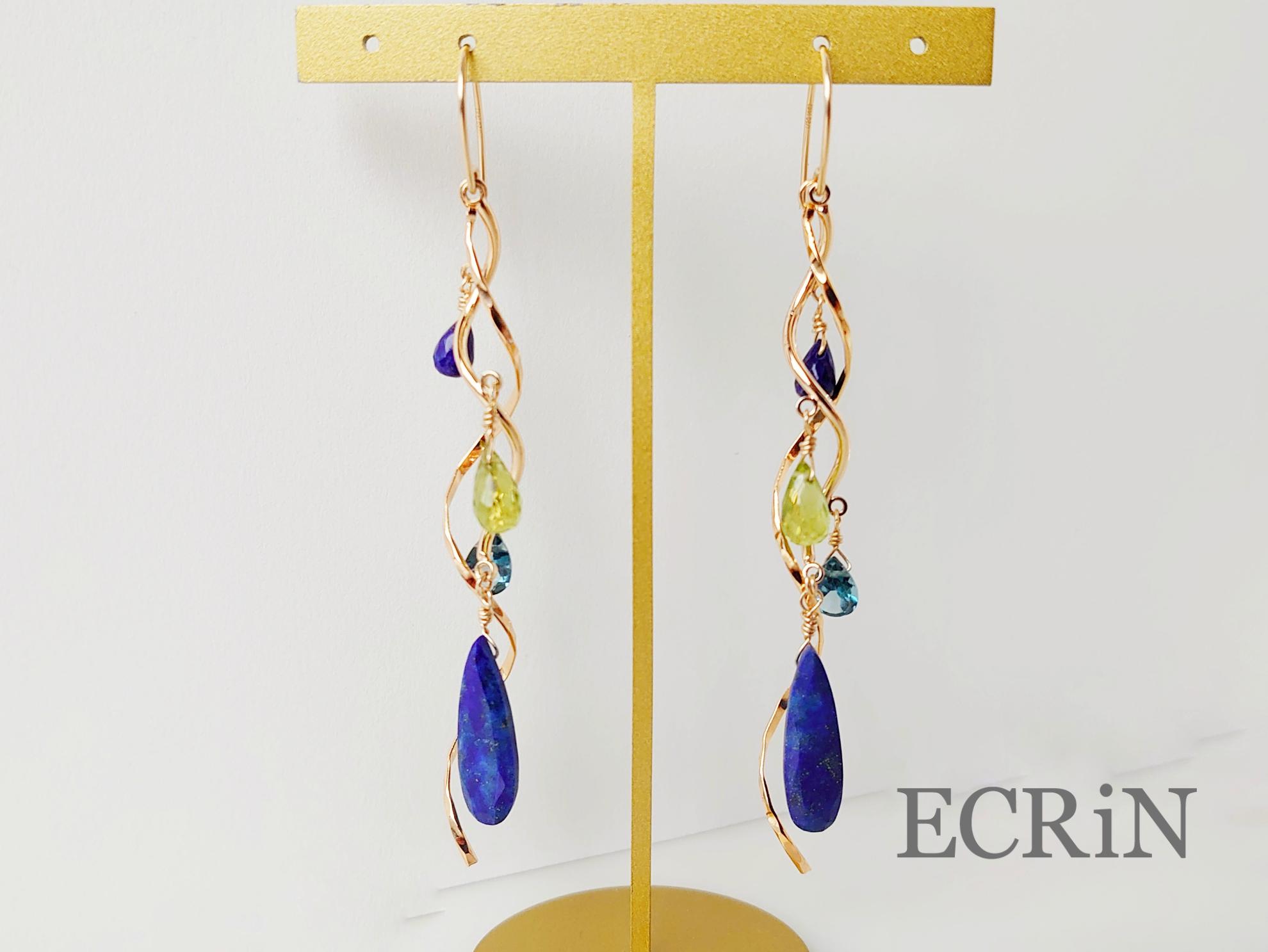 【オートクチュールjewelry】ラピスラズリ・ペリドット・ブルートパーズのロングウェーブピアス(イヤリングにも) 14kgf 送料無料