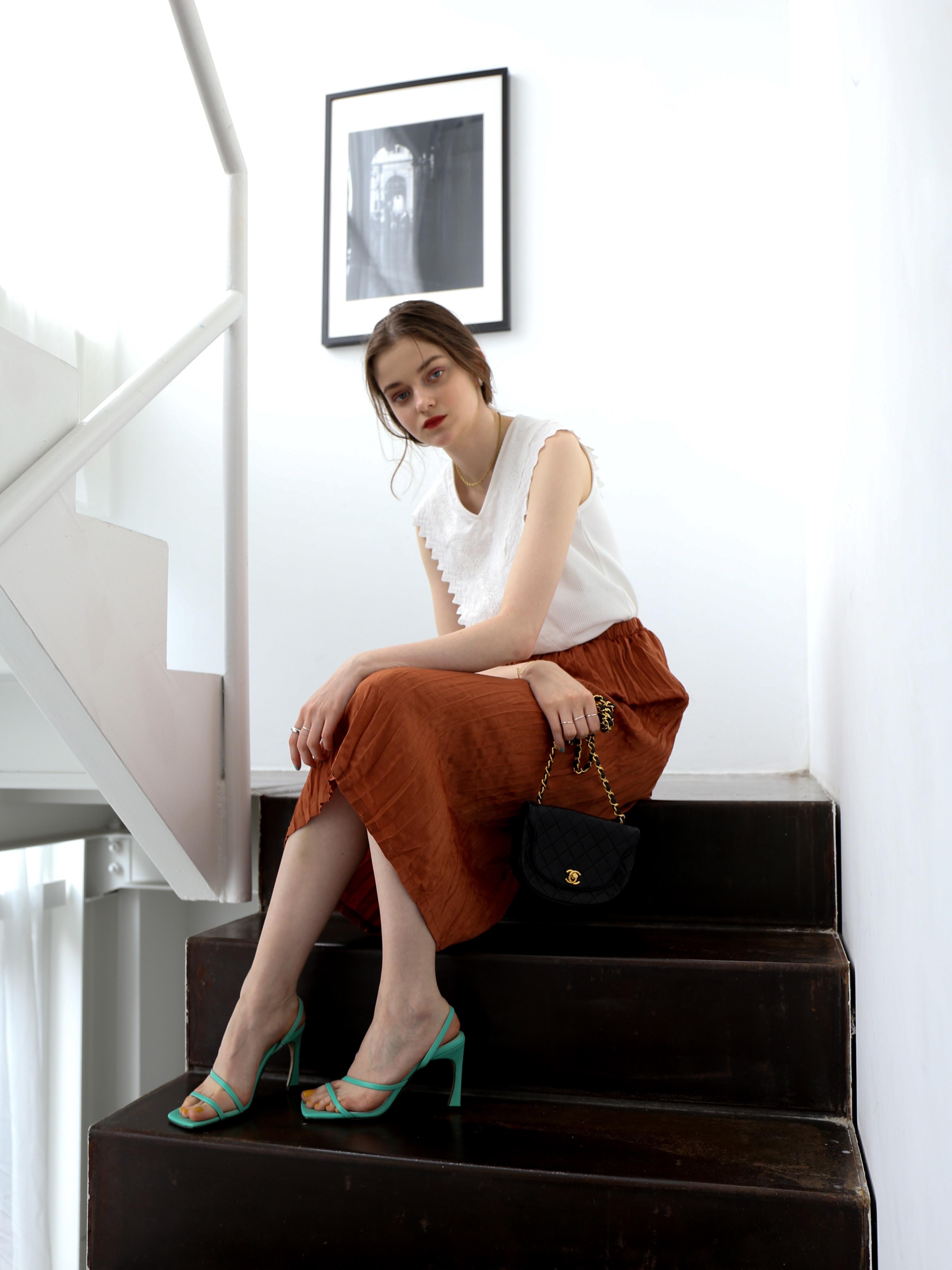 washer I line skirt(brown)