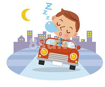 イラスト素材:居眠り運転イメージ/背景有り(ベクター・JPG) | 8sukeの人物イラスト屋:かわいいベクター素材のダウンロード販売