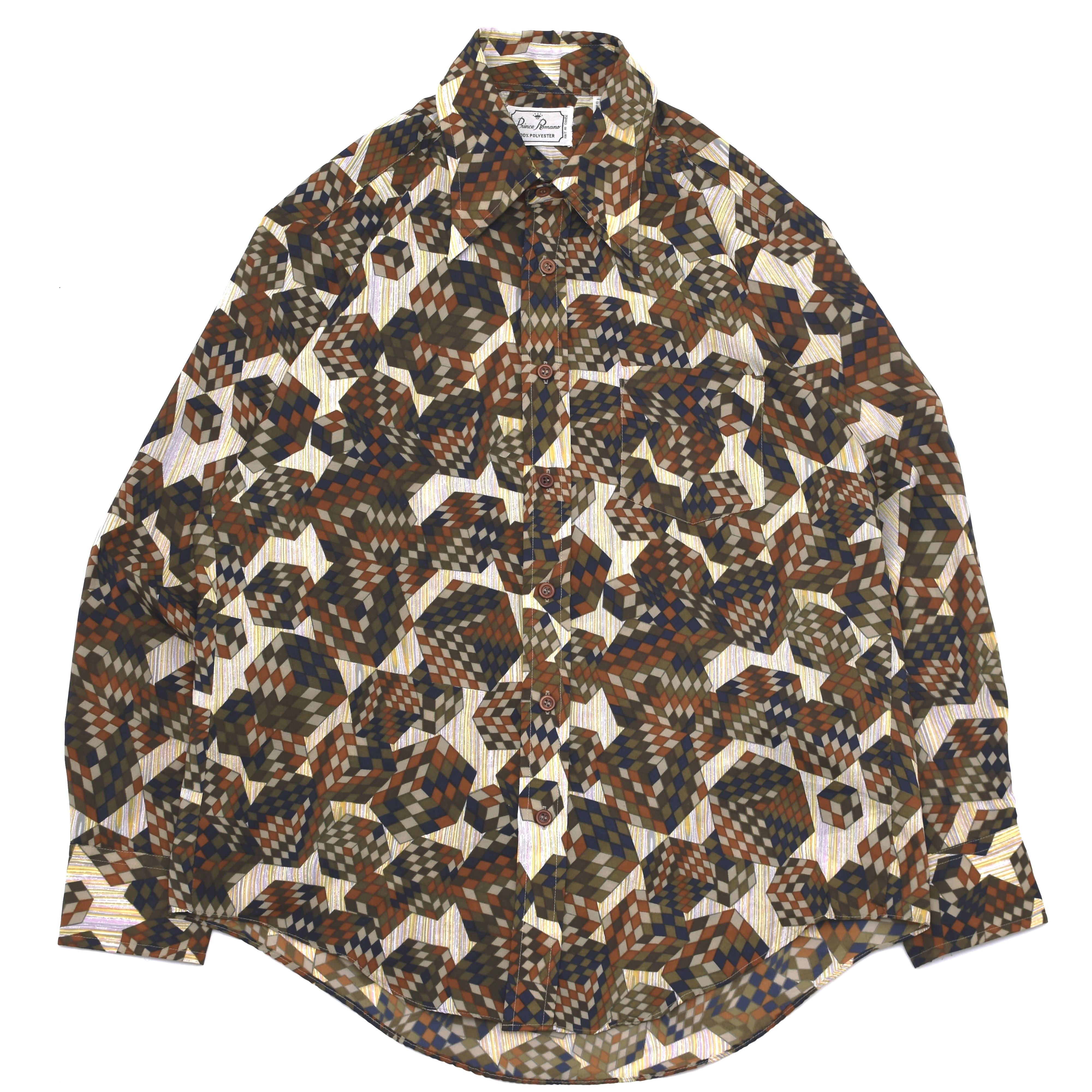 70s vintage geometric pattern poly shirt