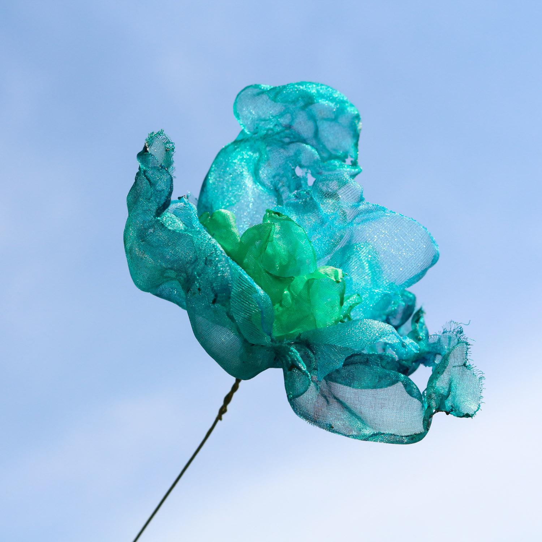 エメラルドグリーンno,2|カラフルオーガンジーのアートフラワー【造花】
