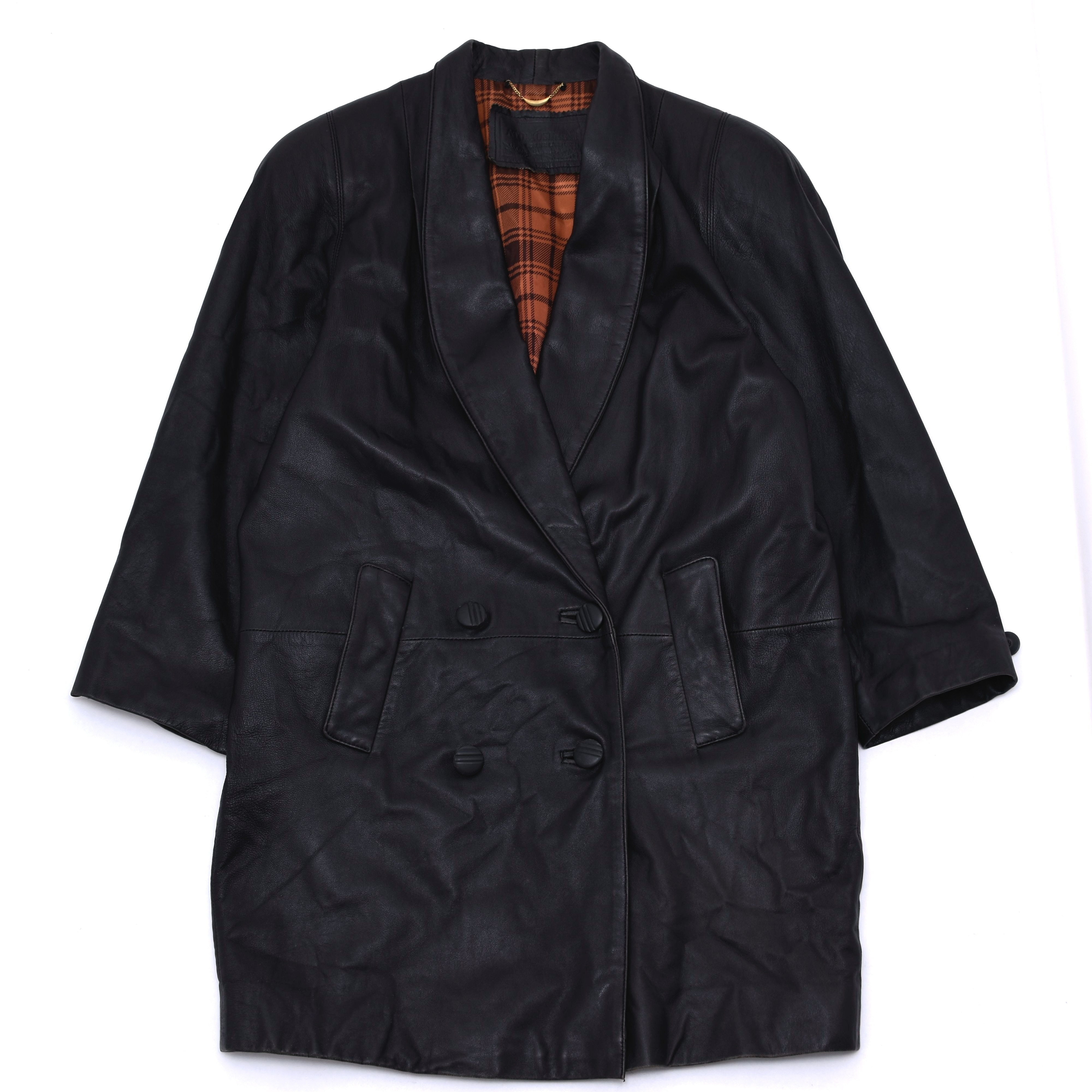 Double breasted black lambs leather coat
