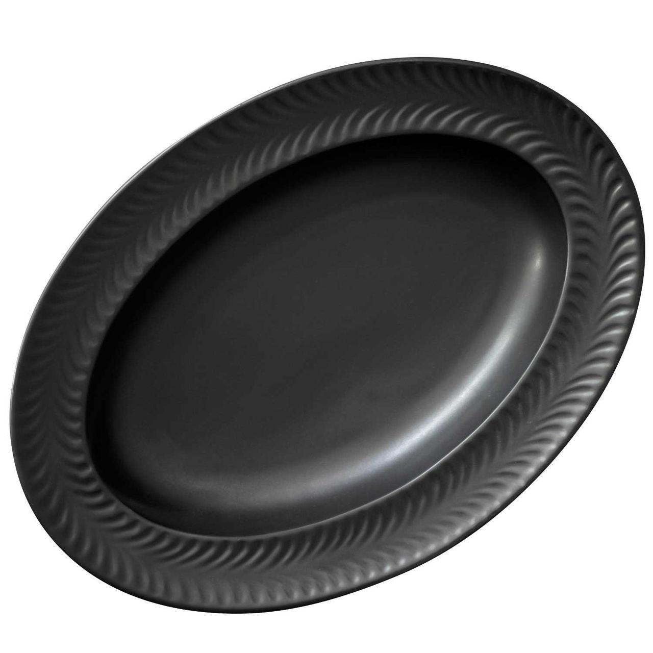 波佐見焼 翔芳窯 ローズマリー リムオーバル 皿 約27×19cm マットブラック