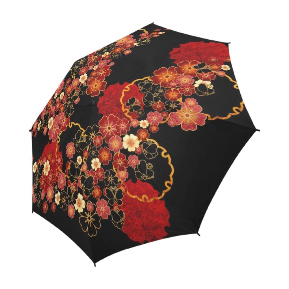 桜家紋蝶家紋 黒 折りたたみ傘