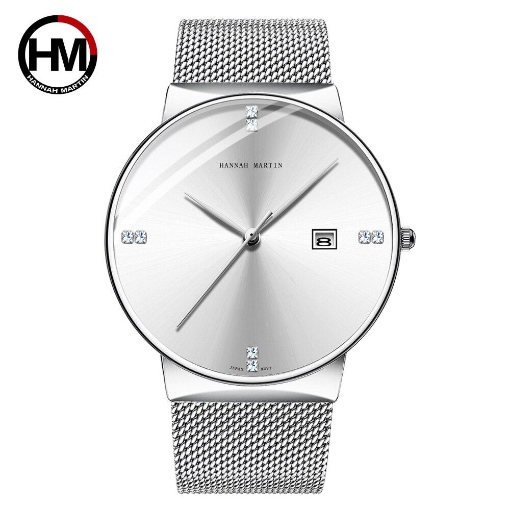 メンズウォッチステンレススチールクラシックビジネス防水トップブランド高級クォーツムーブメント腕時計カレンダーHM-901-B-WYY