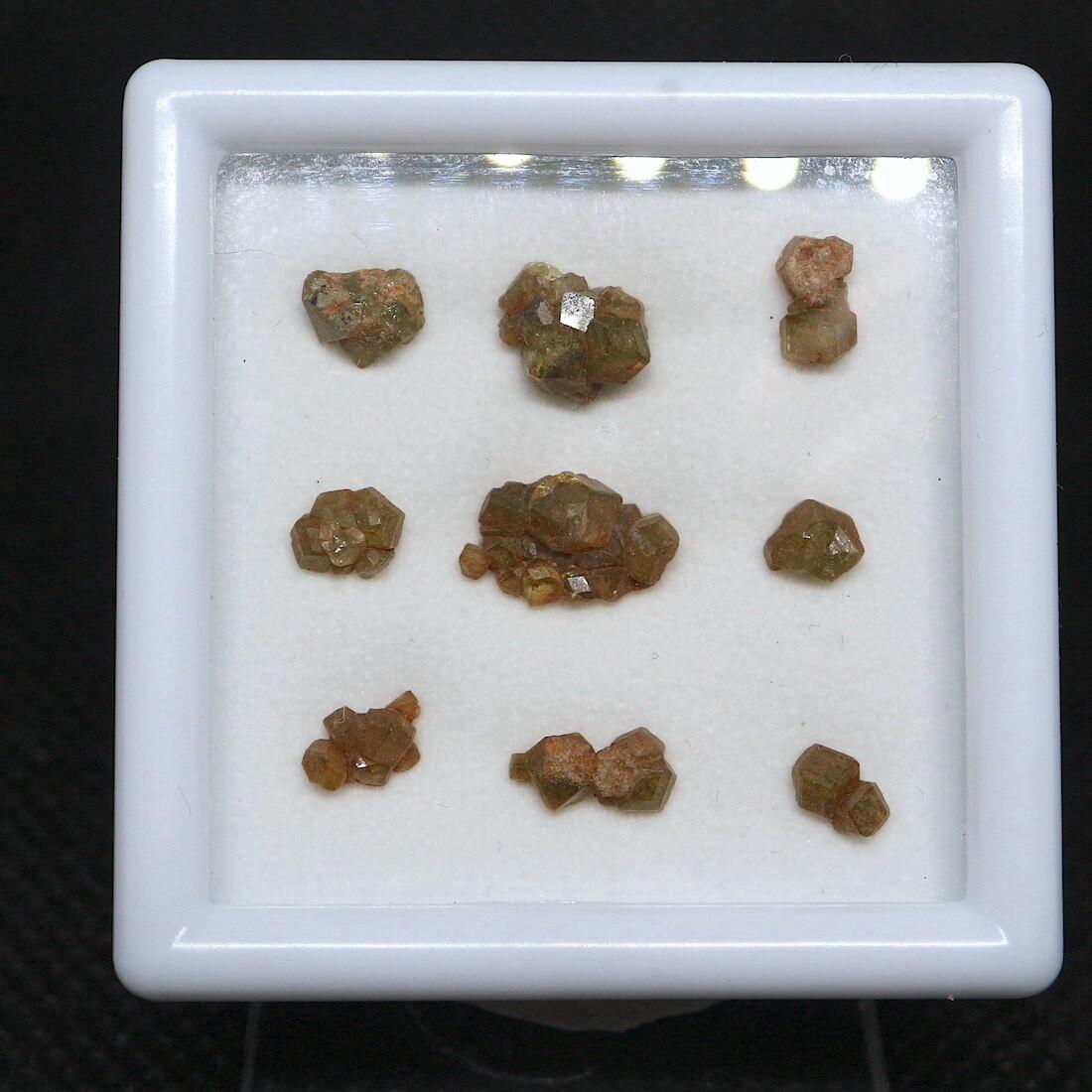 レア!【鉱物標本セット】デマントイド カリフォルニア産 ケース入り スクエア大 #1 AND065 原石 宝石 天然石 鉱物セット
