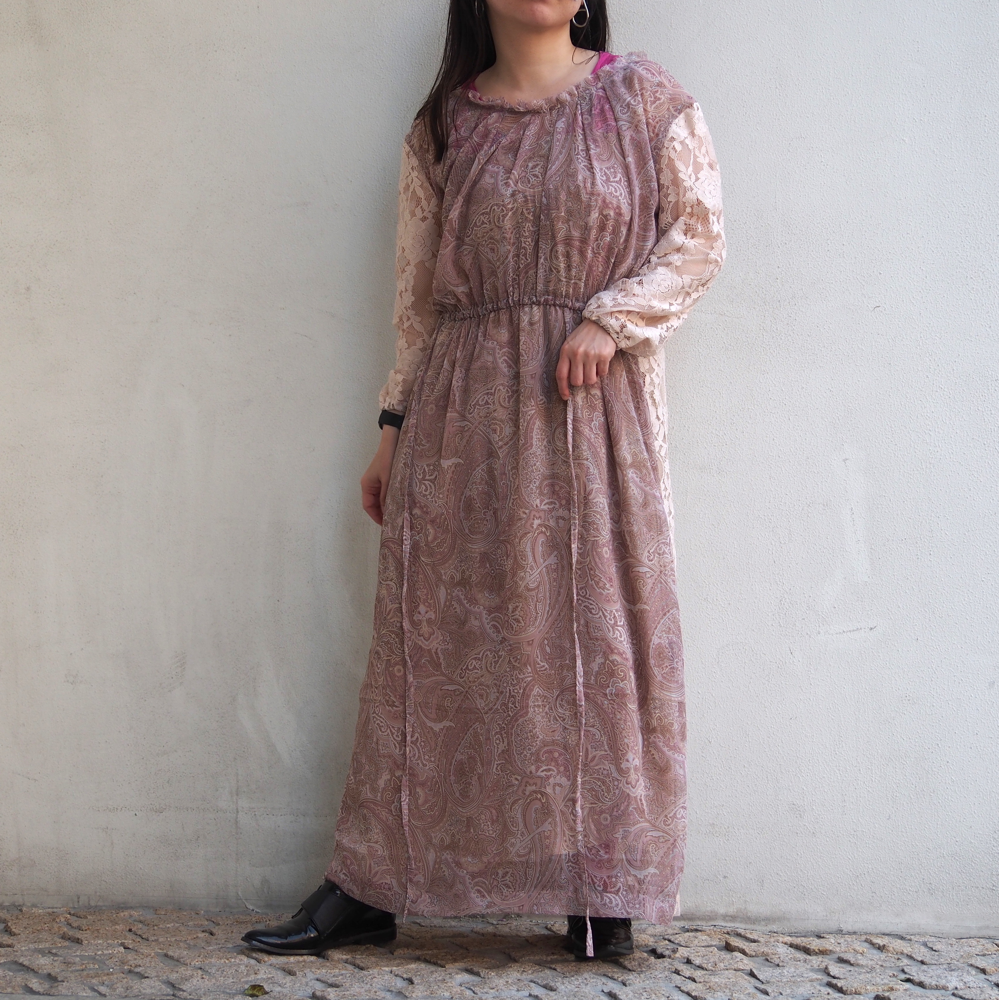【ethical hippi】tuck gather one piece(lace×brown) / 【エシカル ヒッピ】タック ギャザー ワンピース(レース×ブラウン)
