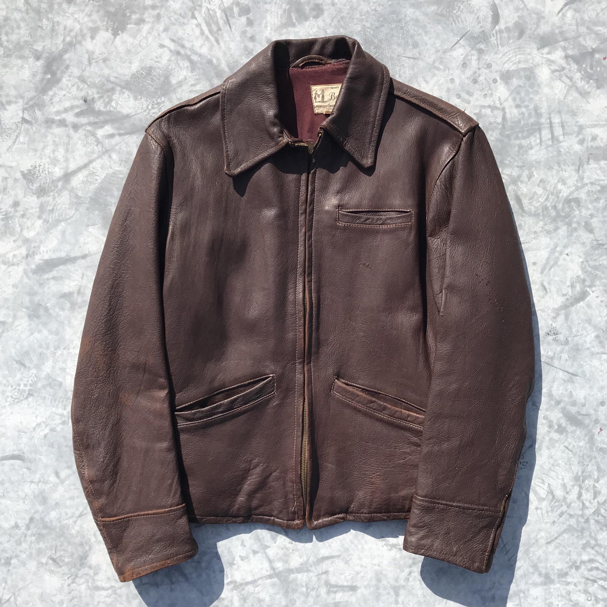 40's Bennie レザースポーツジャケット ヴィンテージ CONMER ピンロック コの字