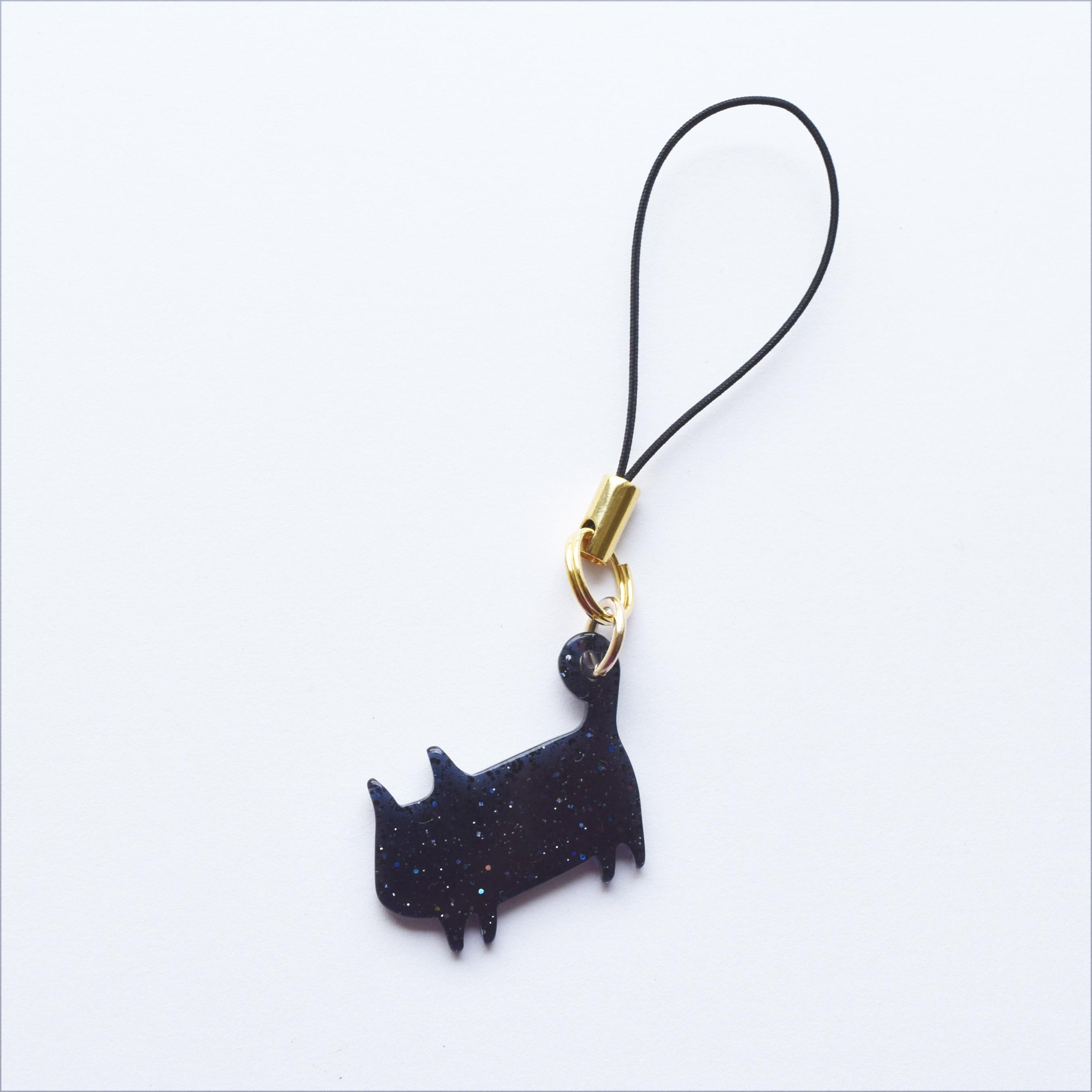 ラメ黒猫、シンプルにゃんこストラップ
