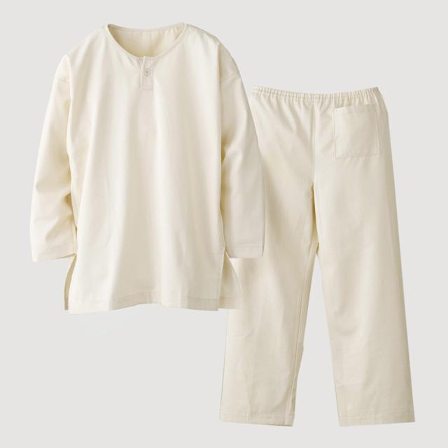 岡山県産綿綾織 かぶり上下セット 素色