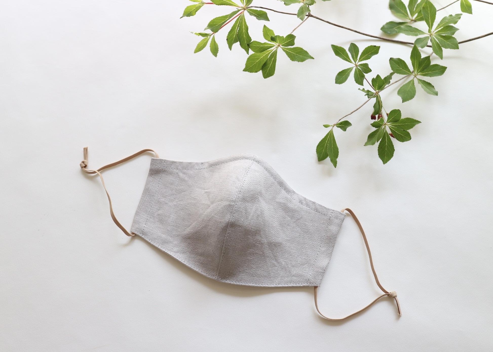 夏に涼しく心地よい リネンのマスク レギュラーサイズ(グレー)ノーズワイヤー入り