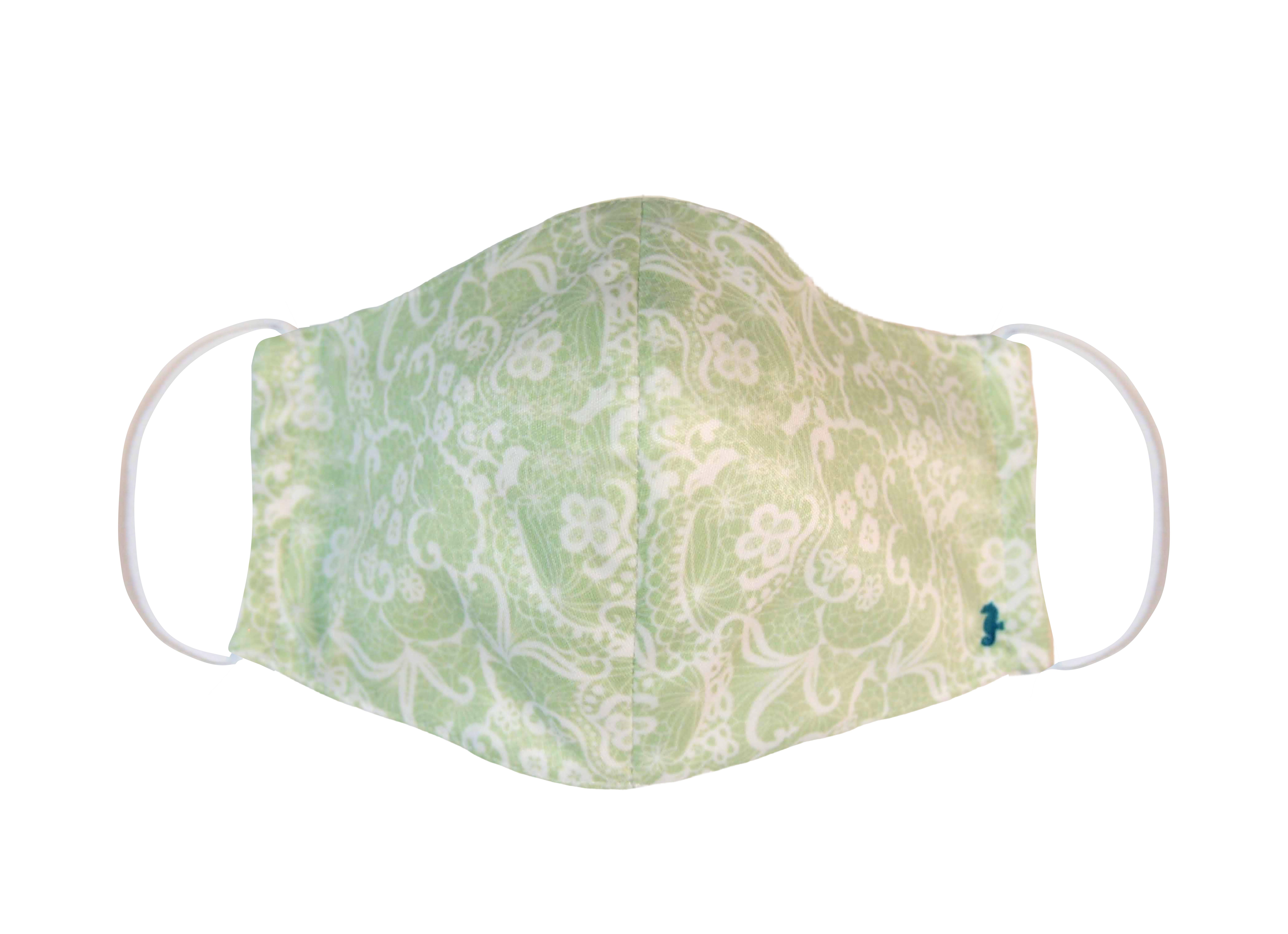 ファッション マスク レースプリント ペパーミントグリーン 立体マスク