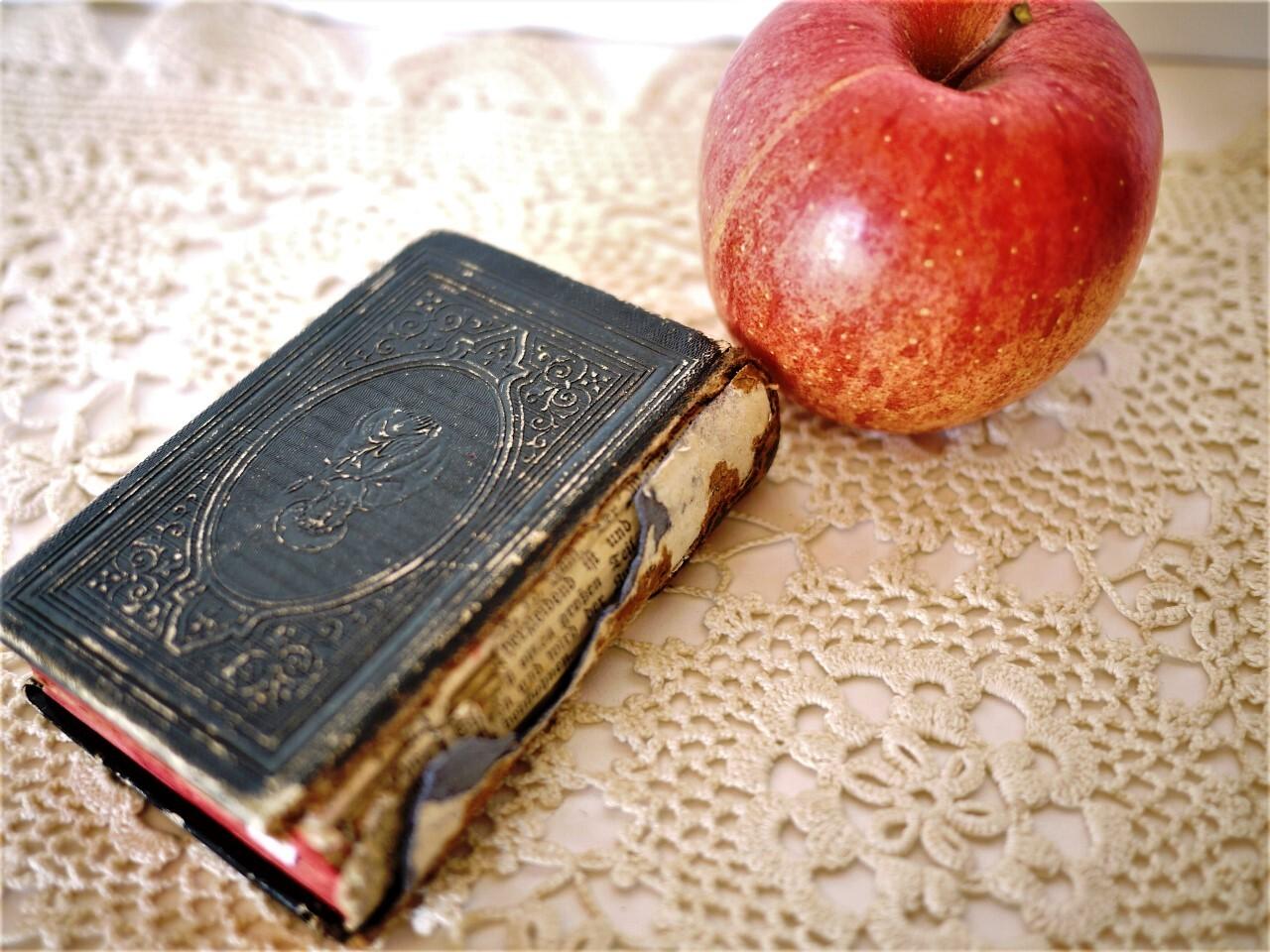 古い祈祷書 革張り  アンティーク聖書 手のひらサイズ豆本 ドイツカトリック