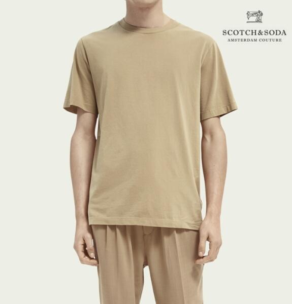 スコッチ&ソーダ SCOTCH&SODA 半袖 Tシャツ クルーネック オーガニックコットン 無地 Tシャツ Sand 292-34404