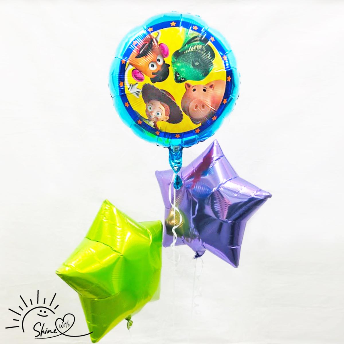 【浮かせてお届け】ヘリウムガス入り トイストーリーバルーン(スター)3個