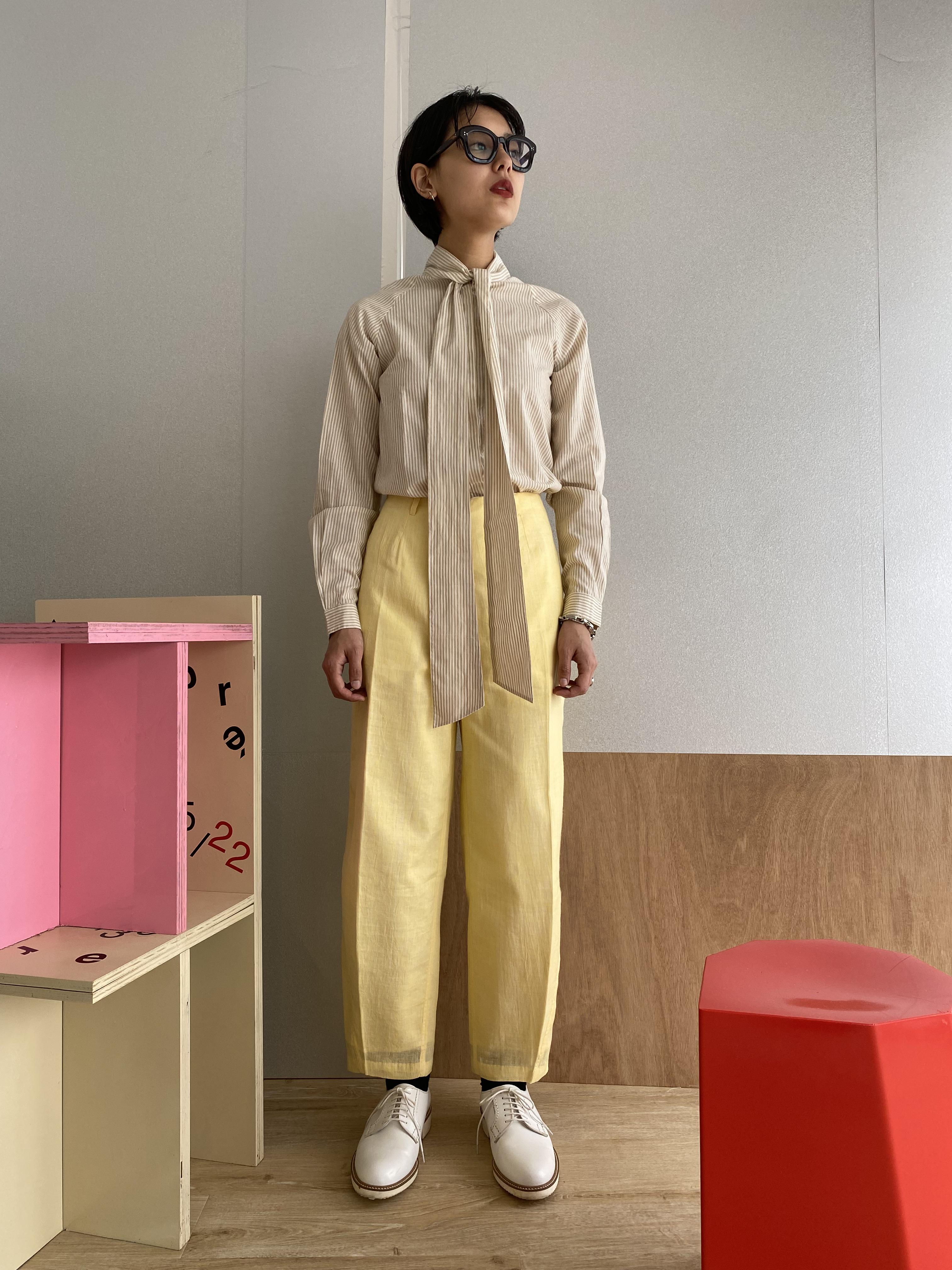 """Raglan sleeve bowtie blouse """"beige stripe"""""""